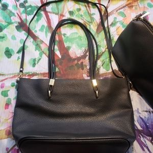 Black Shoulder Tote Bag w/ Removable Mini Purse
